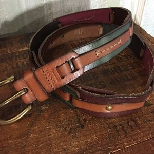 Fossil leather segmented belt fall colors womens M